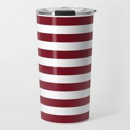 Deep Dark Red Pear and White Horizontal Beach Hut Stripe Travel Mug