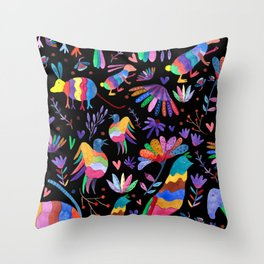 Otomi animals and flowers colorful Throw Pillow