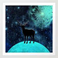 walk the moon Art Prints featuring Moon walk by North 10 Creations