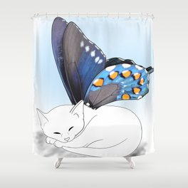 White Kitten Fairy Shower Curtain