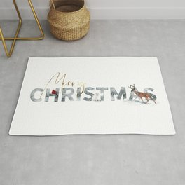 Merry Christmas Animals in the Snow Rug