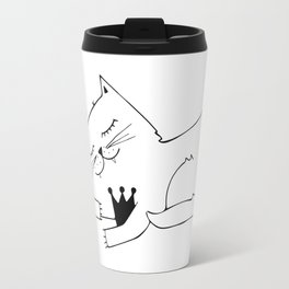 Scandinavian style cat and crown art print Travel Mug