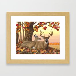 Hilltop Retreat Whitetail Deer Painting Framed Art Print