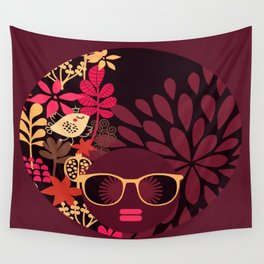 Afro Diva : Sophisticated Lady Deep Pink & Burgundy Wall Tapestry