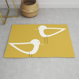 Shorebird Pair 2 in White and Light Mustard Rug