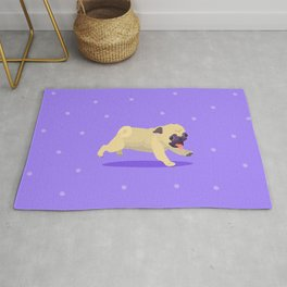 Going for a Frolic Pug Rug
