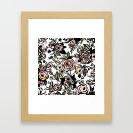 Colored Brushed Floral Pattern Framed Art Print