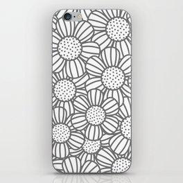 Field of daisies - gray iPhone Skin