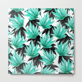 Modern Black and Teal Watercolor Tropical Leaves Metal Print