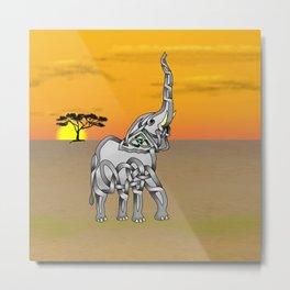 Trumpeting Elephant Knot Metal Print