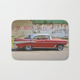 Vintage Car Classic American Automobile Cuba Bel Air Red LOL Graffiti Bath Mat