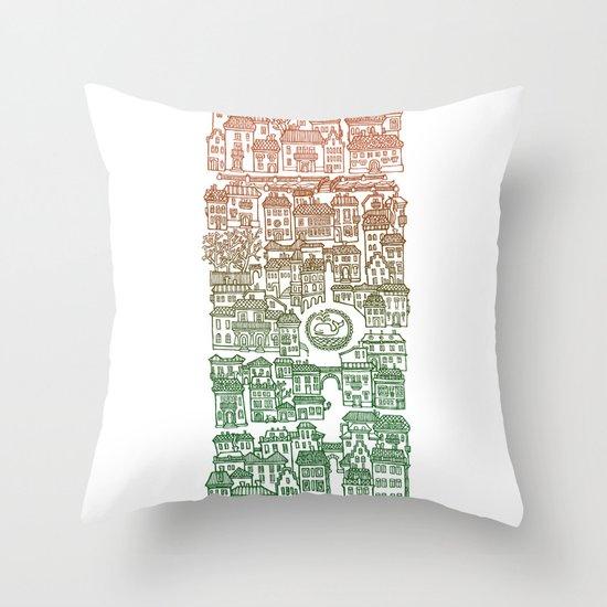 Autumn city Throw Pillow
