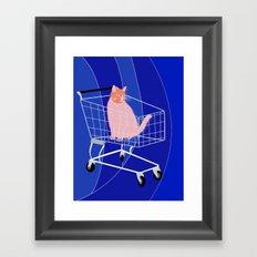 Cat in a cart Framed Art Print