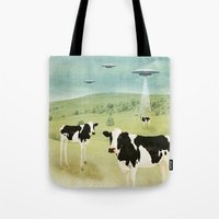 anaconda Tote Bags featuring we all like burgers _ US AND THEM  by Vin Zzep