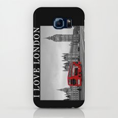 Black and White London with Red Bus Galaxy S8 Slim Case