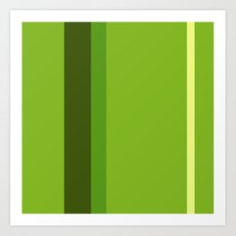 A perfect alliance of Sap Green, Yellowish Tan, Icky Green and Navy Green vertical stripes. Art Print