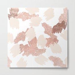 Modern rose gold faux glitter brushstrokes blush pink Metal Print