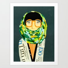 Portrait with glasses Art Print
