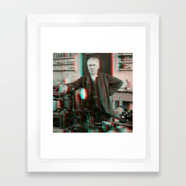 Thomas Edison in His Laboratory - 3D Anaglyph Framed Art Print