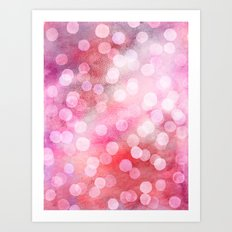 Strawberry Sunday - Pink Abstract Watercolor Dots Art Print