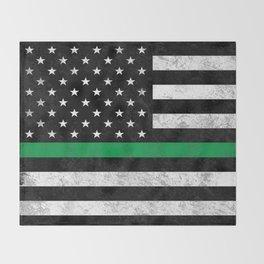 Thin Green Line Throw Blanket