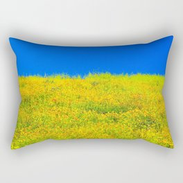 yellow poppy flower field with green leaf and clear blue sky Rectangular Pillow