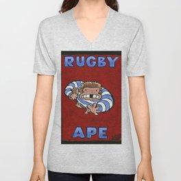 Rugby Ape on Red Unisex V-Neck