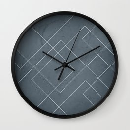 Overlapping Diamond Lines on Peninsula Blue Wall Clock