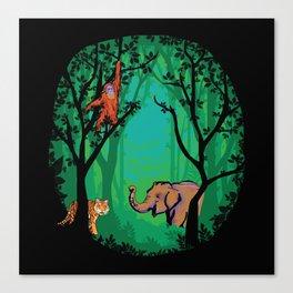 Sumatra Forest Animals - Orangutan, Tiger and Elephant Canvas Print