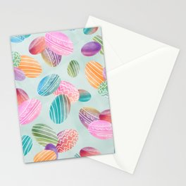 Easter eggs //Watercolor eggs on green wash background Stationery Cards