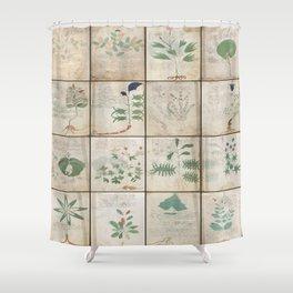 The Voynich Manuscript Quire 1 - Natural Shower Curtain