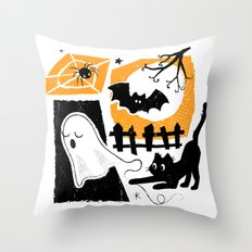 Beware of the Cat on Halloween Throw Pillow