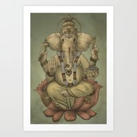 ganesha Art Prints featuring Ganesha by Sumi Senthi