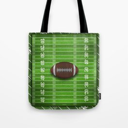 Football Field with Yard Lines and Football Tote Bag