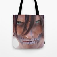 attack on titan Tote Bags featuring Titan by 3dbrooke