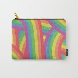 Faded Retro Rainbow Stripes Pattern Carry-All Pouch