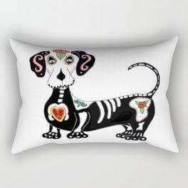 Dachshund Sugar Skull Rectangular Pillow
