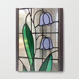 Floral stained glass Metal Print