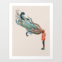 huebucket Art Prints featuring Octopus in me by Huebucket