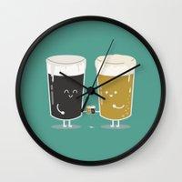 ashton irwin Wall Clocks featuring Cheers! by Terry Irwin