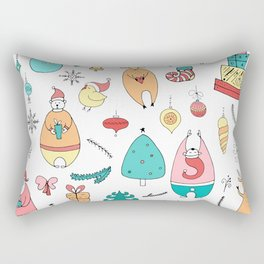 Cute Colorful Cartoon Christmas Animals Pattern Rectangular Pillow