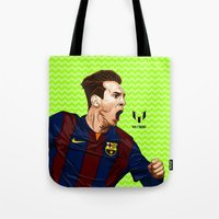 messi Tote Bags featuring Lionel Messi by Just Agung