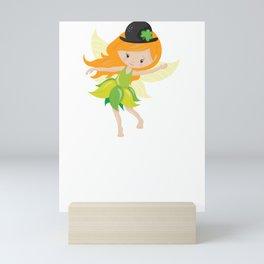 Kids Saint Pats Day Cute Irish Fairy Mini Art Print