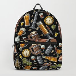 Beer Makes The World Go Round - Black Pattern Backpack