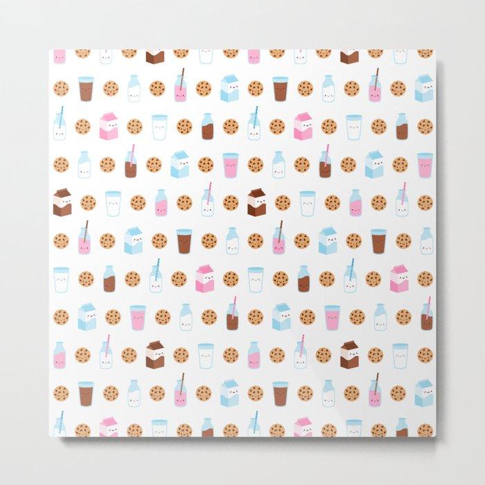 Milk and Cookies Pattern on White Metal Print