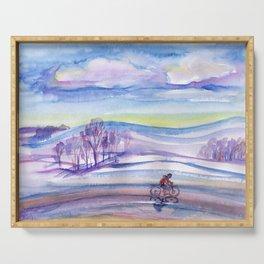 Winter bike ride Serving Tray