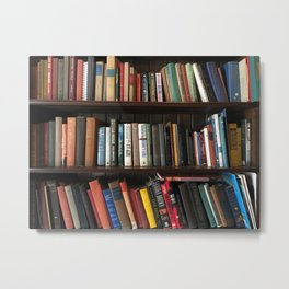 The Bookshelf in the Library Metal Print