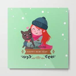 Happy Girl Hugging Her Cat. Metal Print