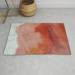 Desert Journey [1]: a textured, abstract piece in pinks, reds, and white by Alyssa Hamilton Art Rug