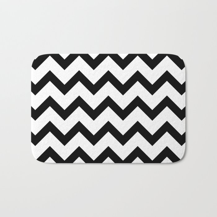 Simple Black And White Chevron Pattern Bath Mat By